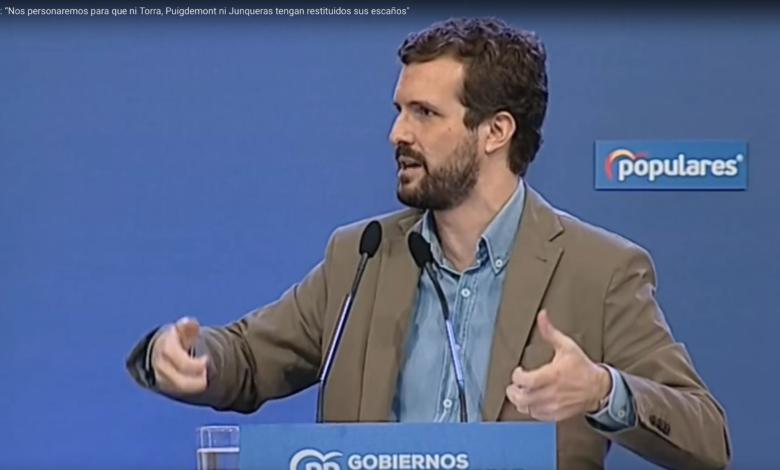 """Photo of Casado: """"Nos personaremos para que ni Torra, Puigdemont ni Junqueras tengan restituidos sus escaños»"""