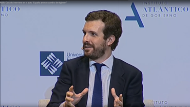 "Photo of Pablo Casado interviene en el acto ""España ante un cambio de régimen""."